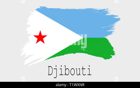 Djibouti flag on white background, 3d rendering - Stock Photo