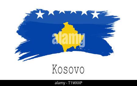 Kosovo flag on white background, 3d rendering - Stock Photo