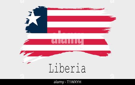 Liberia flag on white background, 3d rendering - Stock Photo