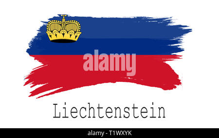 Liechtenstein flag on white background, 3d rendering - Stock Photo