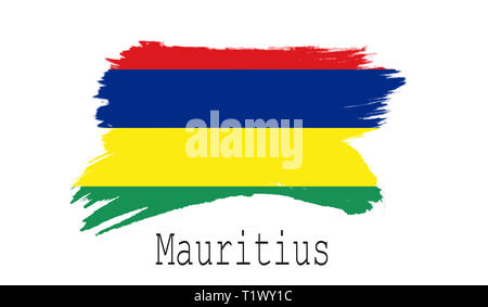 Mauritius flag on white background, 3d rendering - Stock Photo