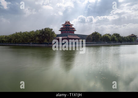 Corner Watchtower of the Imperial Palace in Beijing Forbidden City, Beijing, China - Stock Photo