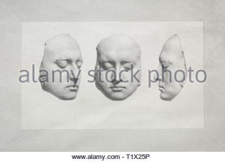 Death Mask of Sir Thomas Lawrence. Richard James Lane (British, 1800-1872). Lithograph. - Stock Photo