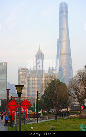 SHANGHAI, CHINA -4 MAR 2019- View of Gucheng Park, an urban park located at the east end of Renmin Road in Shanghai, China. - Stock Photo
