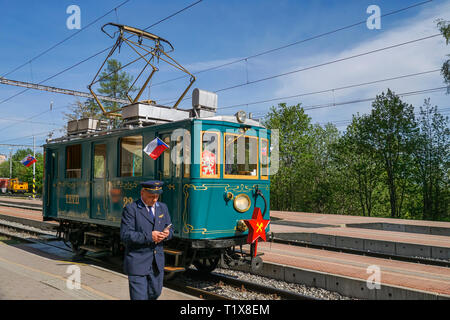 International Workers' Day 1 st May 2018, old train at the railway station. Stary Smokovec, Slovakia, Europe - Stock Photo