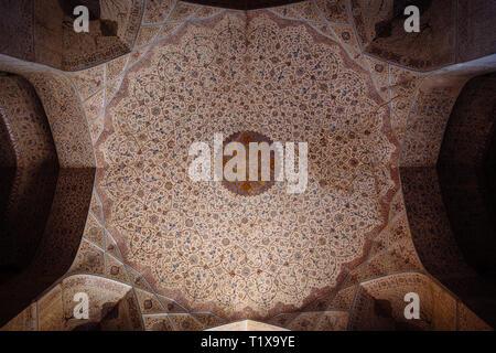 Celling in Ali Qapu palace, Isfahan, Iran - Stock Photo