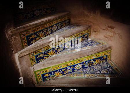Stairs in Ali Qapu palace, Isfahan, Iran - Stock Photo