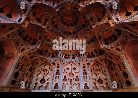 Music room at Ali Qapu palace. celling, Isfahan, Iran - Stock Photo
