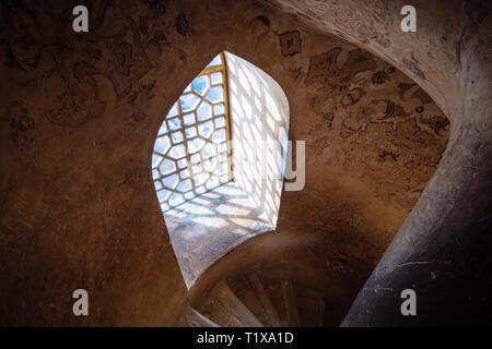 Interior of Ali Qapu palace, Isfahan, Iran - Stock Photo