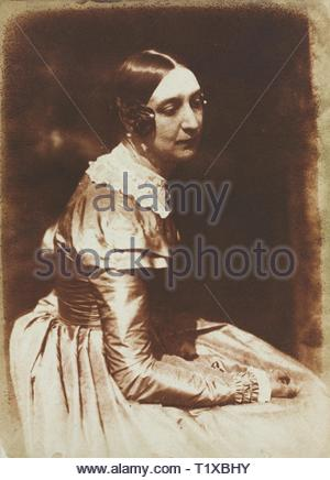 Elizabeth Rigby, later Lady Eastlake (1809-1893), c. 1844-1845. David Octavius Hill (British, 1802-1870), and Robert Adamson (British, 1821-1848). Salted paper print from calotype negative; image: 21.5 x 15.6 cm (8 7/16 x 6 1/8 in.); matted: 45.7 x 35.6 cm (18 x 14 in.). - Stock Photo