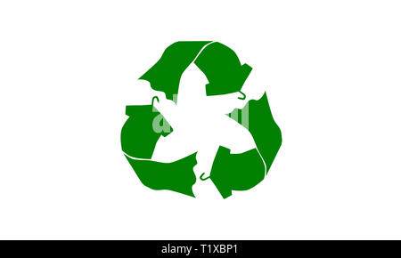 Recycle symbol made with t shirt dress on hanger concept illustration reuse, recycle clothing and textiles to reduce waste to landfill - Stock Photo