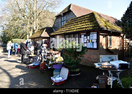 General view outside Village Hall of an Antique, Vintage and Craft Fair, Chawton, near Alton, Hampshire, UK. Sunday 24 February 2019. - Stock Photo