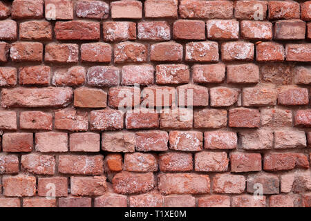 Red brick wall texture. Old facade of industrial building, vintage background - Stock Photo