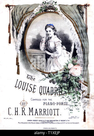 PRINCESS LOUISE, Duchess of Argyll (1848-1939) sixth child of Queen Victoria and Prince Albert on a music sheet about 1880 - Stock Photo