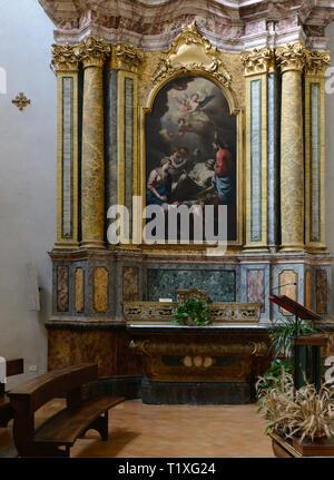 Assisi Umbria Italia - Italy. Church of Santa Maria sopra Minerva old Roman temple turned in church. Morte di San Giuseppe oil on canvas by Martin Kno - Stock Photo