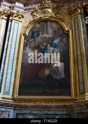 Assisi Umbria Italia Italy. Church o Santa Maria sopra Minerva, oil on canvas by Anton Maia Garbi (b. 1521 - d. 1608) Sant'Andrea Avellino. - Stock Photo