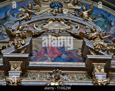 Assisi Umbria Italia Italy. Close-up of  the frontespizio inside the church of Santa Maria sopra Minerva. The latin inscription is a reference to the - Stock Photo