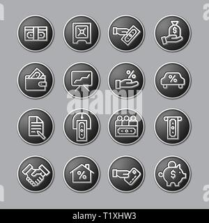 illustration of business and finance glossy icon set in gray color - Stock Photo