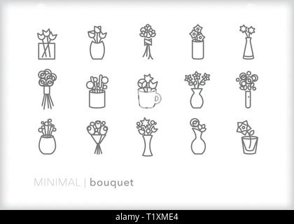 Set of 15 flower bouquet line icons of stems, buds, and blooms in various vases, cups and wraps - Stock Photo
