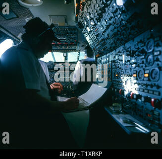 Cockpit of Concorde, 1986, preparing to fly to Marrakesh from Heathrow returning from a day trip. Navigator co-pilot with flight plan checklist and in - Stock Photo