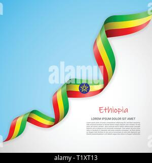 Vector banner in white and blue colors and waving ribbon with flag of Ethiopia. Template for poster design, brochures, printed materials, logos - Stock Photo