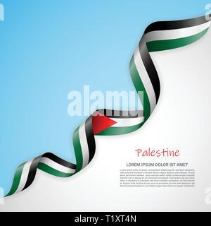Vector banner in white and blue colors and waving ribbon with flag of Palestine. Template for poster design, brochures, printed materials, logos - Stock Photo