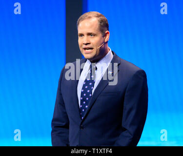 Jim Bridenstine, Administrator of the National Aeronautics and Space Administration (NASA) seen speaking during the American Israel Public Affairs Committee (AIPAC) Policy Conference in Washington, DC. - Stock Photo