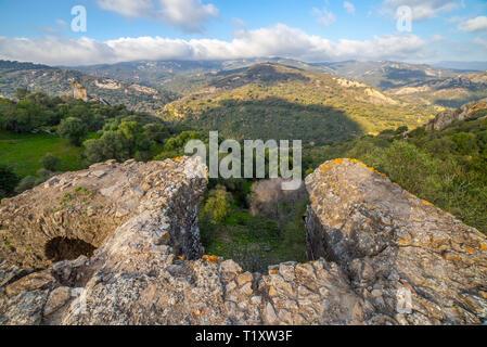 Splendid nature area of Los Alcornocales Nature Reserve. View from Jimena de la Frontera castle ruins - Stock Photo