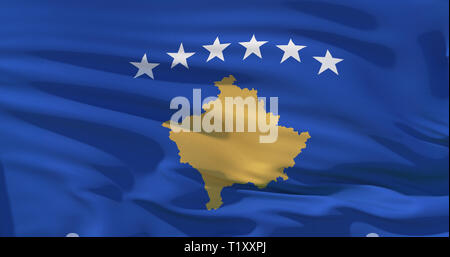 Kosovo flag on silk texture background. High quality 3d illustration perfect for news, design, background. 4K quality - Stock Photo