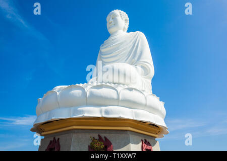 Big Buddha statue at the Long Son Pagoda or Chua Long Son, a Buddhist temple in the city of Nha Trang in south Vietnam - Stock Photo