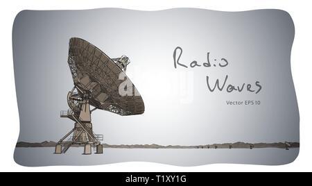 Radio telescope dishes antenna. Vector sketch draw - Stock Photo