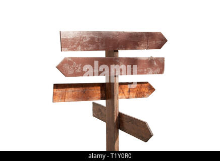 wooden direction sign on white background isolated in retro style - Stock Photo
