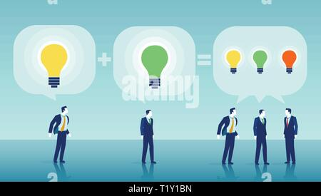 Successful teamwork one plus one equals three concept. Vector of businessmen brainstorming ideas - Stock Photo