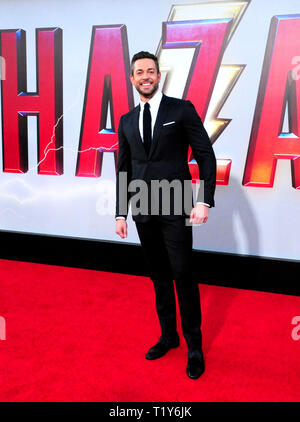 LOS ANGELES, CA - MARCH 28: Actor Zachary Levi attends the World Premiere of Warner Bros. Pictures and New Line Cinema's 'Shazam!' on March 28, 2019 at TCL Chinese Theatre in Los Angeles, California. Photo by Barry King/Alamy Live News - Stock Photo