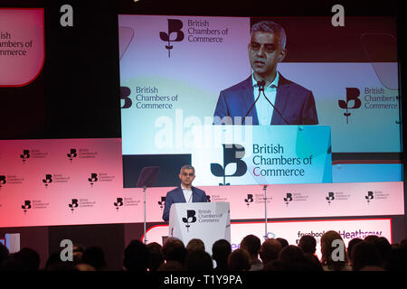 London, UK. 29th Mar, 2019. Mayor of London, Sadiq Khan, speaks at the British Chambers of Commerce Annual Conference 2019 in Westminster. He is highly critical of the Government's approach to business during the Brexit process. Credit: Tommy London/Alamy Live News - Stock Photo