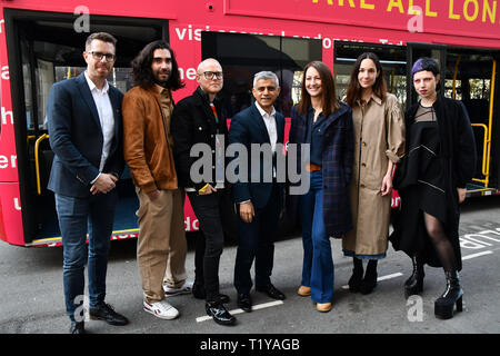 London, UK. 29th March, 2019. The Mayor of London, Sadiq Khan, launch a branded 'We are all Londoners' bus as it begins a four-day 'Advice Roadshow' around the capital. The bus will visit locations in areas with high numbers of European nationals, offering them guidance on how to apply for Settled to Status to remain in the UK following Brexit on 29 March 2019, London, UK. Credit: Picture Capital/Alamy Live News - Stock Photo