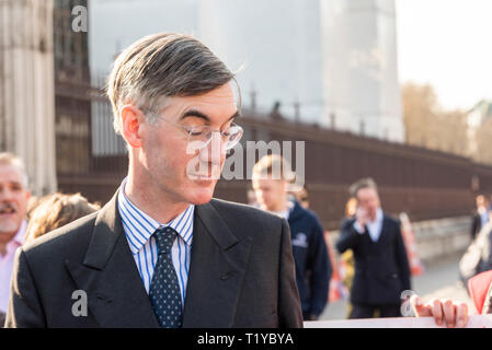 Conservative MP Jacob Rees-Mogg arriving at the Palace of Westminster, London, UK. 29th March 2019, the date that should have seen the UK leave the EU, for the debate on a government Brexit motion towards approving a withdrawal agreement - Stock Photo