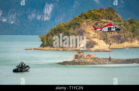 LANGKAWI, MALAYSIA : MARCH 28, 2019 : Naval commando units and Malaysian coastguard stage a rescue operation at the LIMA exhibition Credit: Chung Jin Mac/Alamy Live News - Stock Photo