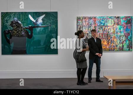 London, UK. 29th Mar 2019. A preview for Sotheby's dedicated sale of Modern and Contemporary African Art in London for a fourth consecutive season. The pre-sale exhibition which will run from March 29 – April 2. . The auction will take place on 2 April. Credit: Guy Bell/Alamy Live News - Stock Photo