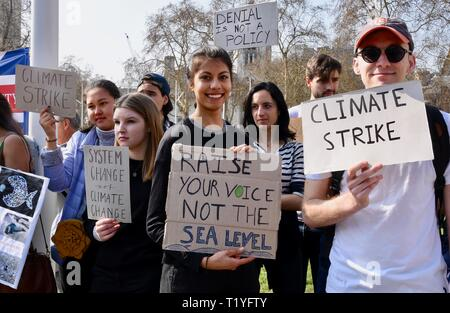 29th Mar 2019. Youth Strike 4 Climate, Climate Change Protest, Parliament Square, Westminster, London. UK Credit: michael melia/Alamy Live News - Stock Photo