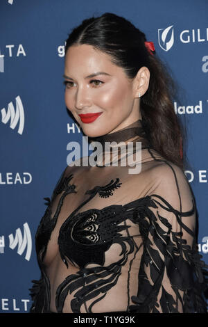 Beverly Hills, California, USA. 28th Mar 2019. Olivia Munn at the 30th Annual GLAAD Media Awards held at the Beverly Hilton Hotel in Beverly Hills, CA on Thursday, March 28, 2019. Photo by PRPP/PictureLux Credit: PictureLux/The Hollywood Archive/Alamy Live News - Stock Photo