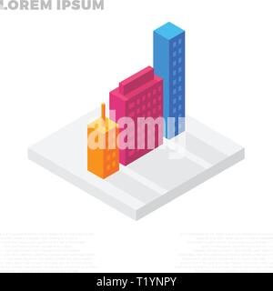 Isometric city or life buildings in a residential block - Stock Photo