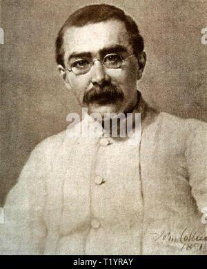 RUDYARD KIPLING (1865-1936) English novelist, poet and journalist about 1900 - Stock Photo