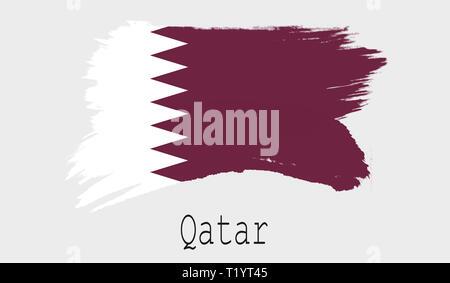 Qatar flag on white background, 3d rendering - Stock Photo