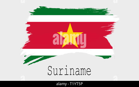 Suriname flag on white background, 3d rendering - Stock Photo