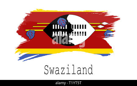 Swaziland flag on white background, 3d rendering - Stock Photo
