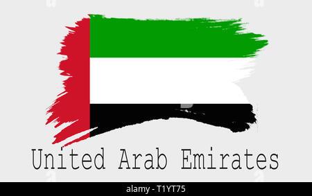 United Arab Emirates flag on white background, 3d rendering - Stock Photo