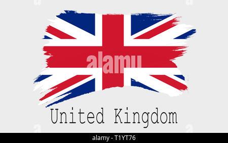 United Kingdom flag on white background, 3d rendering - Stock Photo