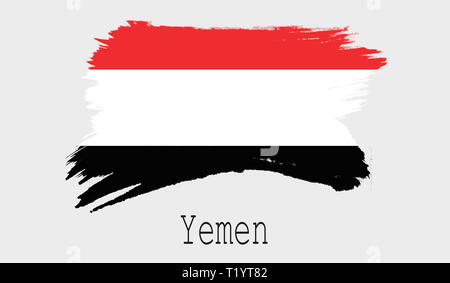 Yemen flag on white background, 3d rendering - Stock Photo