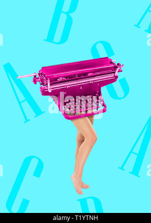 Copywriter has keyboard as a head and body. Typing with her brain. Female fit legs headed by pink retro typewriter on blue background. Business concept. Modern design. Contemporary art collage. - Stock Photo